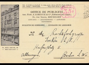 Belgien: 1907: Carte nach Berlin