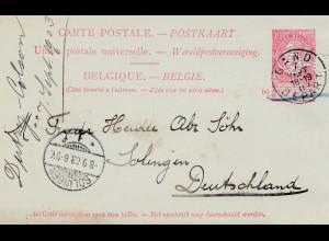 Belgien: 1903: Ganzsache Gand nach Deutschland, Perfin