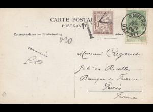 Belgien: 1909: Ansichtskarte aus Anvers nach Paris