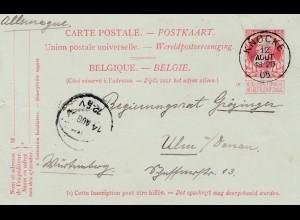 Belgien: 1905: Ganzsache nach Ulm