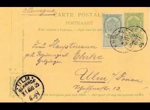 Belgien: 1905: Ganzsache Knocke nach Ulm