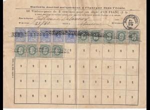 Belgien: 18xx: Bulletin destine uniquement- 50 timbres pour 1 Franc