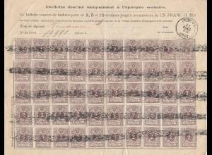 Belgien: 1891 Bulletin destine uniquement a l'epargne scolaire