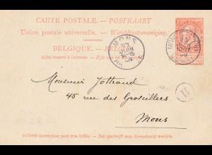 Belgien: 1908: Mons - Ansichtskarte Schiff