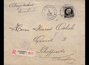 Belgien: 1924: Anvers nach Oberschlesien/Polen