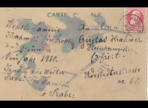 Belgien: 1910: to Germany - special card