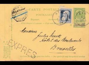 Belgien: 1908: Ganzsache nach Brüssel