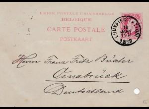 Belgien: 1889: Ganzsache Louvain nach Deutschland-Mängel