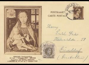 Belgien: 1939: Brugge nach Düsseldorf-Ganzsache
