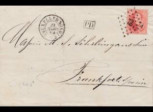 Belgien: 1863: Bruxelles nach Frankfurt-verviers Coeln