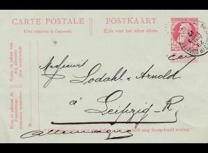 Belgien: 1910: Ganzsache Bruxelles nach Deutschland - Perfin