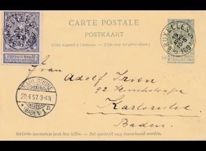 Belgien: 1897: Bruxelles-Ganzsache nach Karlsruhe - Ansichtskarte-Exposition