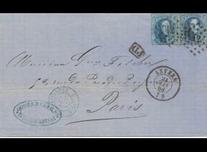 Belgien: 1878: Anvers nach Paris