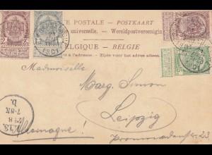Belgien: 1901: Ansichtskarte Hevst s/m - Jeux nach Leipzig