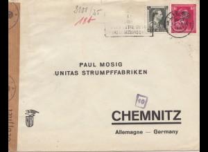Belgien: 1941: Liege nach Chmenitz: Zensur OKW - Strumpffabrik