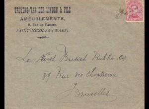 Belgien: 1918: Naint-Nicolas (Waes) nach Bruxelles