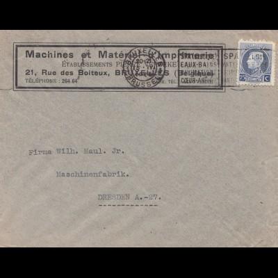 Belgien: 1925: Construction de Machines Bruxelles nach Dresden: Druckmaschinen