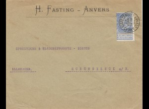 Belgien: 1904: Anvers nach Deutschland - Perfin