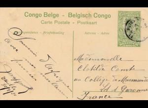Belgisch-Kongo: 1920: Ansichtskarte-Ganzsache: Inspection de la force public