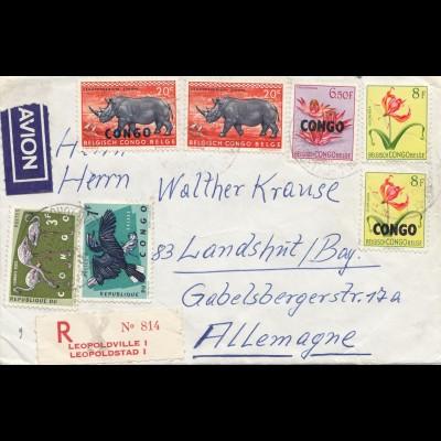 Belgisch-Kongo: Brief nach Deutschland: Nashorn, Flamingo