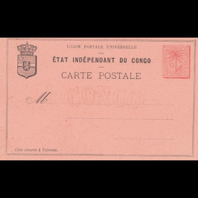 Belgisch-Kongo: Ganzsache: Etat Independant du Congo: Carte Postale
