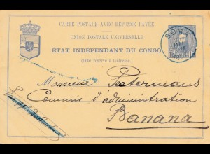 Belgisch-Kongo: 1897: Ganzsache Boma nach Banana
