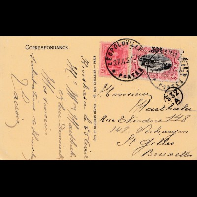 Belgisch-Kongo: 1926: Ansichtskarte Leopoldville/Brazzaville
