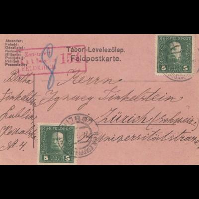 Bosnien: 1917: Zensuriert Feldkirch: Lublin nach Zürich