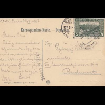 Bosnien: 1907: Ansichtskarte: Neue Bahn Sarajewo Ostgrenze