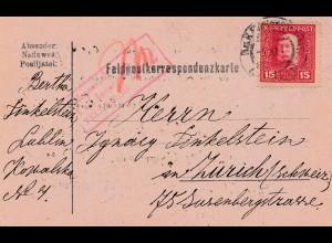 1917: Feldpostkorrespondenzkarte Lublin nach Zürich