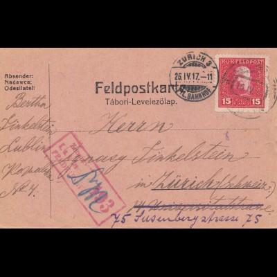 Bosnien: 1917: Feldpostkorrespondenzkarte Lublin nach Zürich