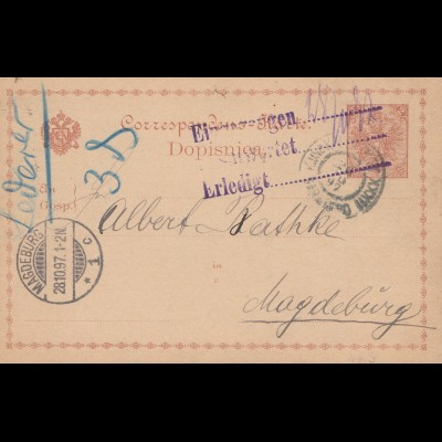 Bosnien: 1897: Ganzsache von Sarajevo nach Magdeburg -- Empfänger verzogen