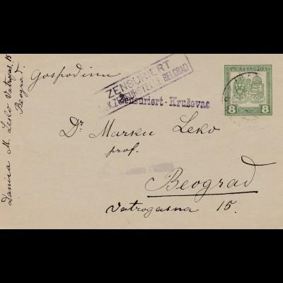 Bosnien: 1918: ganzsache Zensuriert Krusevac nach Beograd