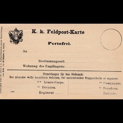Bosnien: K.k. Feldpost Karte-Portofrei