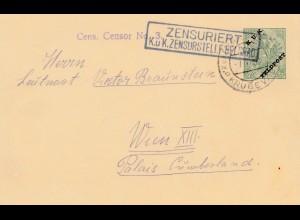 Bosnien: 1916: Ganzsache Krusevac nach Wien: Zensuriert: KuK Feldpost