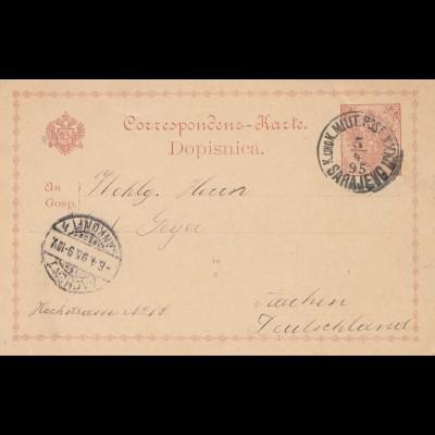 Bosnien: 1895: Sarajevo nach Aachen - KuK Post