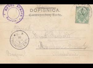 Bosnien: 1906: Sarajevo; Hotel Europe, Ansichtskarte nach München