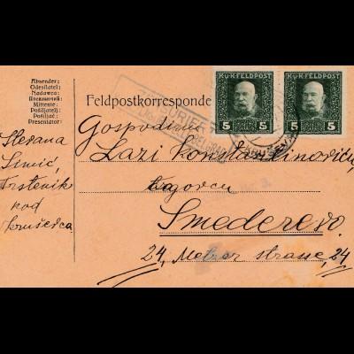 Bosnien: 1917: Feldpostkorrespondenzkarte
