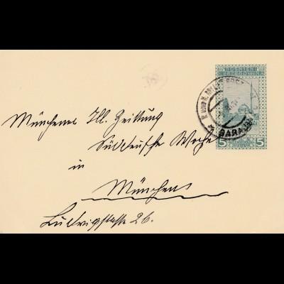 Bosnien: 1914: - Ganzsache nach München