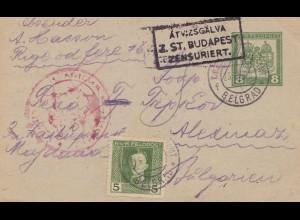 1918: Belgrad nach Bilgarien: Budapest zensuriert: KuK Feldpost