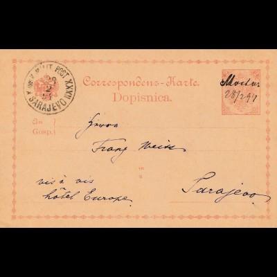 1899: KuK Post Sarajevo - Ganzsache