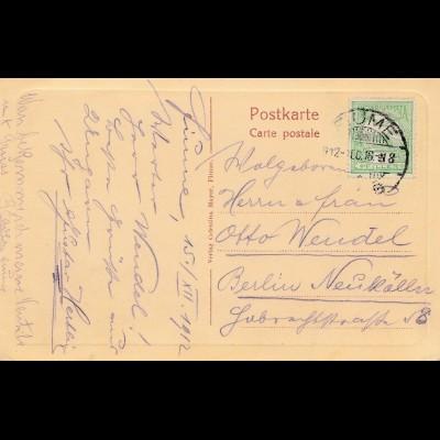 1912: Ungarn: Fiume nach Berlin- Ansichtskarte