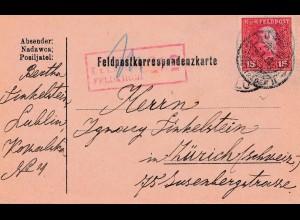 1918: Feldkorrespondenzkarte Lublin: Zensiert Feldkirch in die Schweiz
