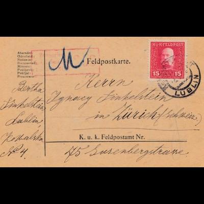 Feldpostkarte Lublin: Zensiert Feldkirch in die Schweiz 1918