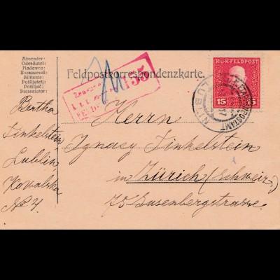1917: Feldpostkarte Lublin: Zensiert Feldkirch in die Schweiz