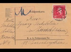 1918: Zensiert Feldkirch in die Schweiz, Feldpostkarte Lublin