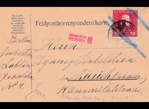 Feldpostkarte 1916, KuK Feldpost Lublin nach Zürich, zensiert Feldkirch