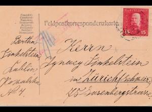 1917: KuK Feldpost Lublin nach Zürich, zensiert Feldkirch