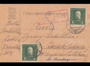 1917: Feldpostkarte, KuK Feldpost Lublin zensiert Feldkirch, nach Zürich