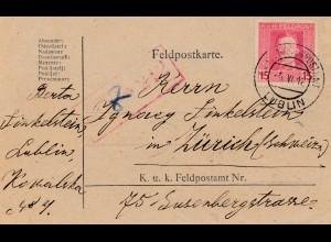 Feldpostkarte 1918, KuK Feldpost Lublin nach Zürich, zensiert Feldkirch